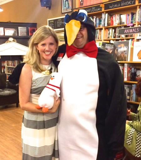 This is a friend who showed up at Parnassus in full penguin costume. ARE YOU EVEN KIDDING ME RIGHT NOW.